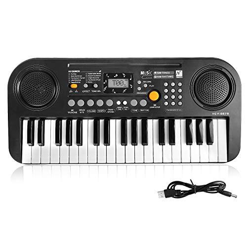 TWFRIC Kids Piano Keyboard, 37 Keys Dual-Speakers Piano for Kids LCD Screen Display Portable Key ...