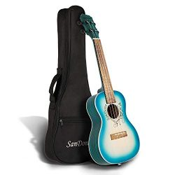 SANDONA Acoustic Electric Concert Ukulele 24 Inch Kit eUKC-141 | Spruce Solid Wood | Under-Saddl ...