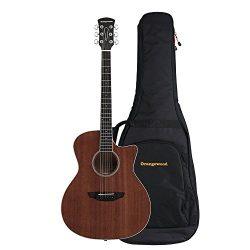 Orangewood Rey Grand Auditorium Cutaway Acoustic Guitar with Mahogany Top, Ernie Ball Earthwood  ...