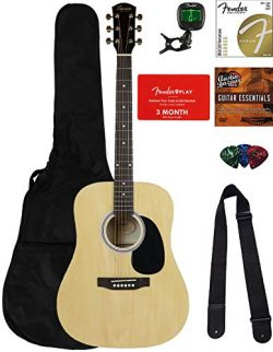 Fender Squier Dreadnought Acoustic Guitar – Natural Bundle with Fender Play Online Lessons ...