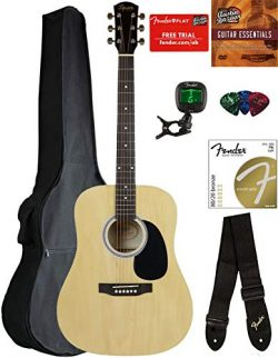 Fender Squier Dreadnought Acoustic Guitar – Natural Bundle with Gig Bag, Tuner, Strap, Str ...