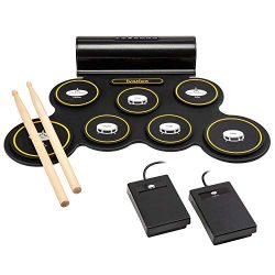 Ivation Portable Electronic Drum Pad – Digital Roll-Up Touch Sensitive Drum Practice Kit & ...