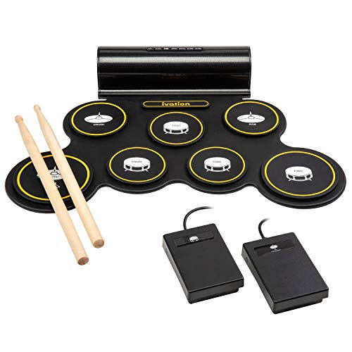 ivation portable electronic drum pad digital roll up touch sensitive drum practice kit 7. Black Bedroom Furniture Sets. Home Design Ideas