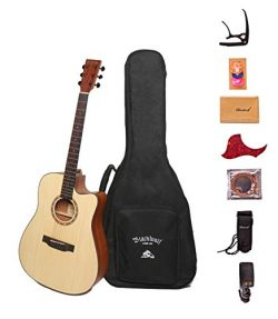"Black Wolf Beginners Acoustic Guitar 41"" Natural Color Cutaway Bundle with Gig Bag, Tuner, Capo, ..."