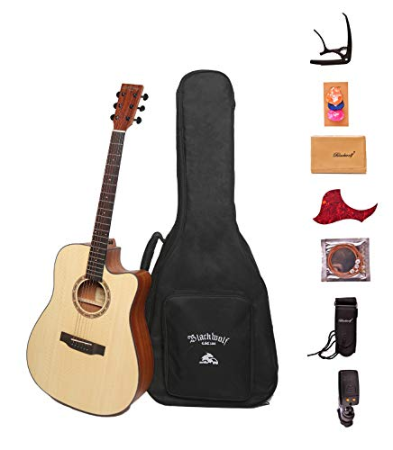 """Black Wolf Beginners Acoustic Guitar 41"""" Natural Color Cutaway Bundle with Gig Bag, Tuner, Capo, ..."""