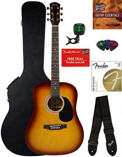 Fender Squier Dreadnought Acoustic Guitar – Sunburst Bundle with Hard Case, Tuner, Strap,  ...