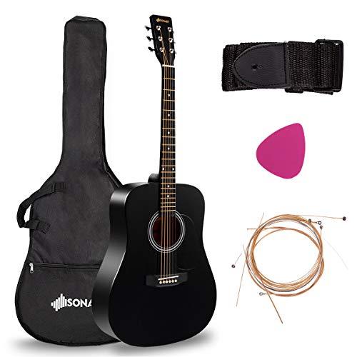 "Sonart Full Size Acoustic Guitar, 41"" Wooden Structure Steel String W/Case, Shoulder Strap, Pick ..."