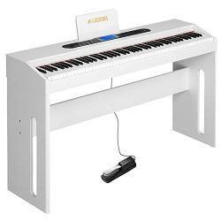 LAGRIMA White Digital Piano, 88 Keys Electric Piano Keyboard for Beginner/Adults W/Music Stand+D ...