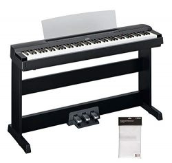 Yamaha P255 88-Key Professional Weighted Action Digital Piano Bundle with Cover, Stand and 3-Ped ...
