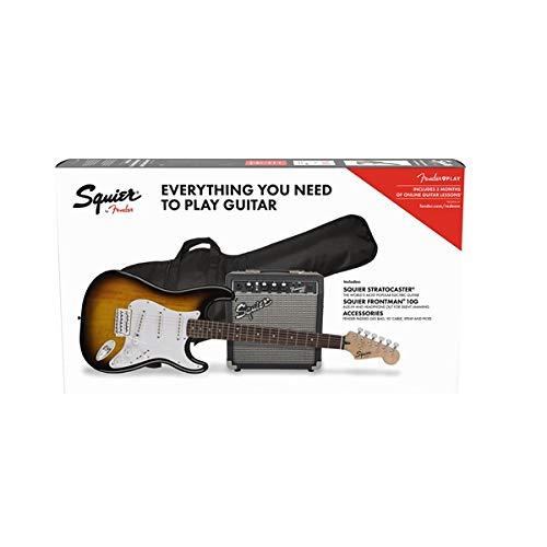 Squier by Fender Stratocaster Beginner Pack, Laurel Fingerboard, Brown Sunburst, with Gig Bag, A ...