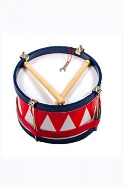 Kids Wooden Tom Tom Marching Drum 8″ Inch with Sticks, Neck Strap and Tuning Wrench &  ...