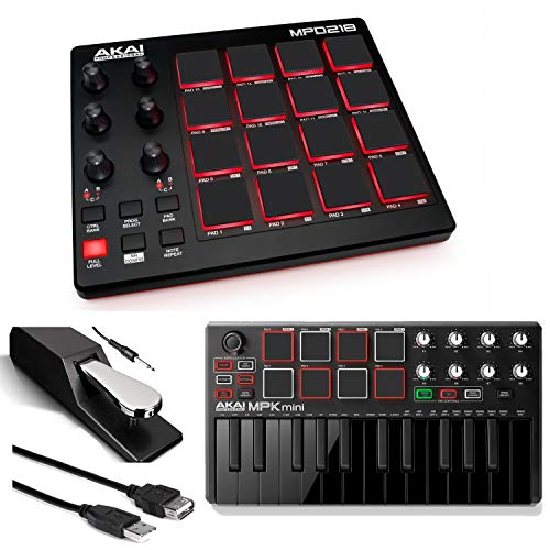 Akai Professional MPD218 | MIDI Drum Pad Controller with Akai MPK Mini MKII | 25-Key Portable US ...