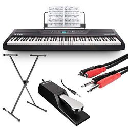 Alesis Recital Pro 88-Key Digital Piano with Hammer-Action Keys + On Stage Keyboard Stand + Pian ...