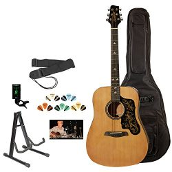 Sawtooth 6 String Acoustic Guitar Pack, Right Handed, Natural w/Graphic, Gig Bag and Accessories ...