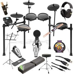 Alesis Nitro Mesh Electronic Drum Kit + Professional Headphones + Drum Mat + Pair of Stix &  ...