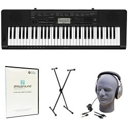 Casio CTK-3500 Quincy Jones Keyboard Bundle with Playground Sessions Software, Keyboard Stand, H ...