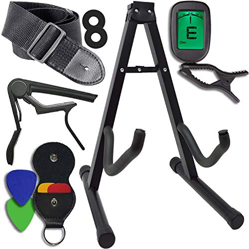 guitar accessories kit stand clip on tuner strap w locks capo 4 assorted picks w leather. Black Bedroom Furniture Sets. Home Design Ideas