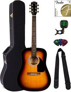 Fender FA-115 Dreadnought Acoustic Guitar – Sunburst Bundle with Hard Case, Tuner, Strings ...
