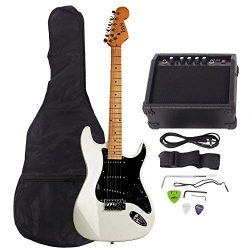 ISIN Full Size Electric Guitar for Beginner with Amp and Accessories Pack Guitar Bag (White)…