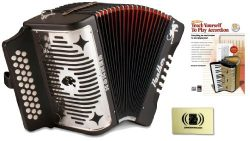 Hohner 3100GB Panther GCF Diatonic 3-Row Accordion Bundle with Alfred's Teach Yourself to  ...