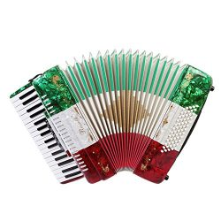 Rossetti Piano Accordion 60 Bass 34 Keys 5 Switches with Case & Straps (Red White Green)