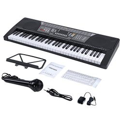 ADM 61 Key Electronic Keyboard Piano Beginner SuperKit with Microphone, Keyboard Sticker, Power  ...