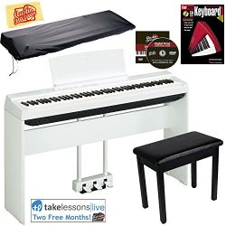 Yamaha P-125 Digital Piano – White Bundle with Yamaha L-125 Stand, LP-1 Pedal, Furniture B ...
