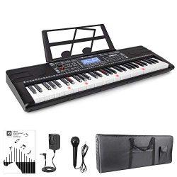 Vangoa VGK6200 61 Lighted Keys Electronic Piano Keyboard with LCD Display, Piano Gig Bag