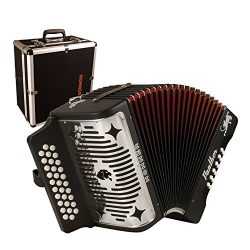 Hohner 3100GB Panther G/C/F 3-Row Diatonic Accordion – Black with Hohner 12X Hardshell Acc ...