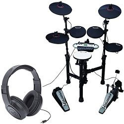 Carlsbro CSD130 Electronic Drum Set with Realistic Kick Pedal + Over-Ear Stereo Headphones &#821 ...