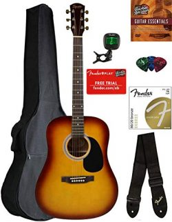 Fender Squier Dreadnought Acoustic Guitar – Sunburst Bundle with Gig Bag, Tuner, Strap, St ...