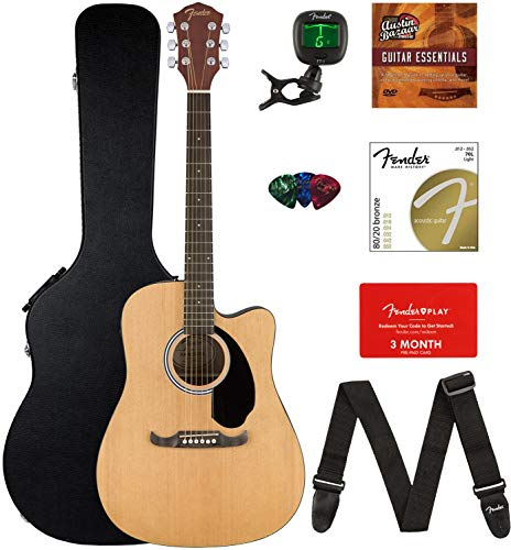 Fender FA-125CE Dreadnought Cutaway Acoustic-Electric Guitar Bundle with Hard Case, Strap, Strin ...
