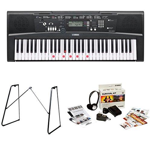 Yamaha EZ220 61 Lighted Key Portable Keyboard Bundle with Yamaha L3C Attachable Keyboard Stand a ...