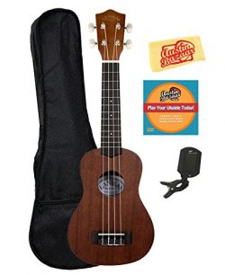 Lanikai LU-21 Soprano Ukulele Bundle with Gig Bag, Clip-On Tuner, Austin Bazaar Instructional DV ...