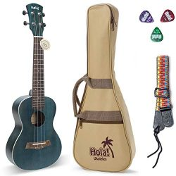 Concert Ukulele Bundle, Deluxe Series by Hola! Music (Model HM-124BU+), Bundle Includes: 24 Inch ...
