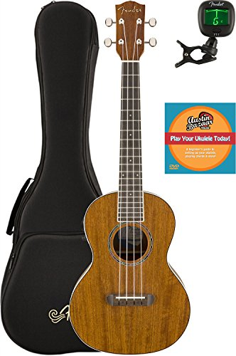 Fender Rincon Acoustic-Electric Tenor Ukulele Bundle with Gig Bag, Tuner, and Austin Bazaar Inst ...