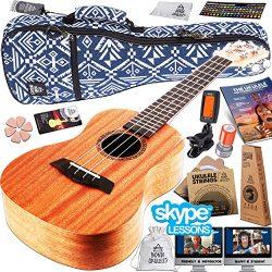 Ukulele Starter Kit (15-FREE-Bonuses) Mahogany Uke, Compression Sponge Case, Aquila Strings, Fel ...