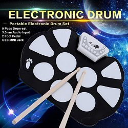 Portable 9 Pad Electronic Roll up Drum Pad Kit Silicon Foldable Musical Instrument Electronic Ki ...