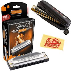 Hohner 560 Special 20 Harmonica – Key of G Bundle with Carrying Case and Polishing Cloth