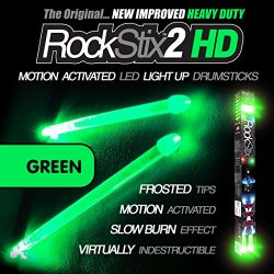 ROCKSTIX 2 HD GREEN, BRIGHT LED LIGHT UP DRUMSTICKS, with fade effect, Set your gig on fire! (GR ...