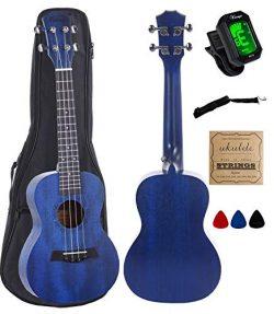 Concert Ukulele Mahogany 23 inch with blue stain finish with Ukulele Accessories, Gig Bag, Strap ...