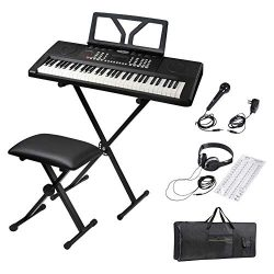 ADM 61 Key Portable Electronic Keyboard Piano Beginner Kit with Stand, Padded Bench Stool, Micro ...