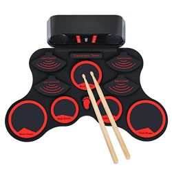 Elejolie Electronic Drum Set Roll Up Drum Practice Kit Portable Rechargeable Drum Kit with Headp ...