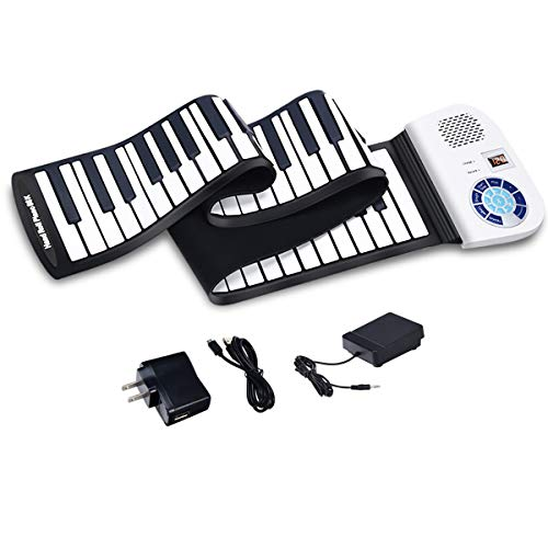 HONEY JOY Roll Up Piano, Electronic Piano Keyboard, Portable Rechargeable Silicon Piano w/Foot P ...