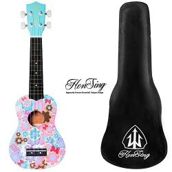Honsing soprano ukulele cookie tattoo ukulele for beginner with padded gig bag