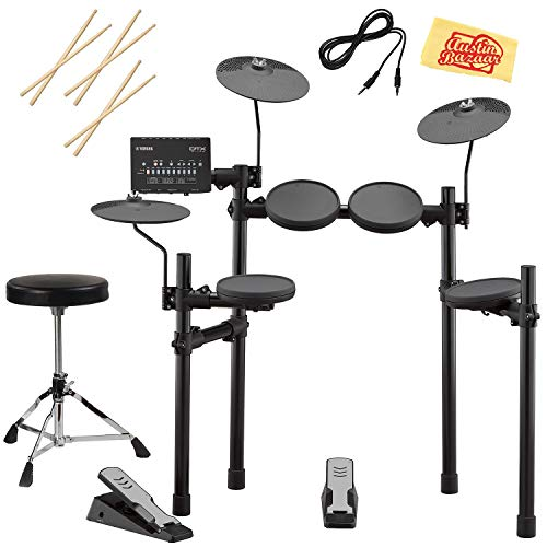 Yamaha DTX402K Electronic Drum Set Bundle with Drum Throne, Drum Sticks, Aux Cable, and Austin B ...