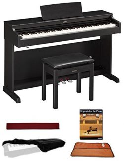 Yamaha YDP163B Black 88 Weighted Keys Digital Piano keyboard Bundle with Matching Bench, Juliet  ...