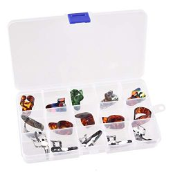 Guitar Picks, 15 Pieces Banjo Finger Pick Stainless Steel Celluloid Thumb Picks Plectrums Set wi ...