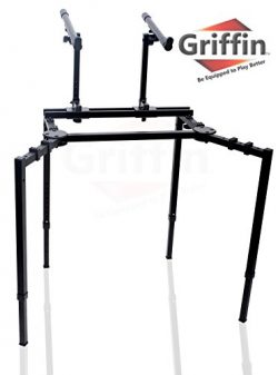 Double Piano Keyboard and Laptop Stand by Griffin | 2 Tier/Dual Portable Studio Mixer Rack for T ...