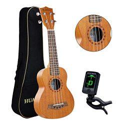Professional Soprano Ukulele Kit Mahogany HUAWIND Uke Starter Kit Hawaiian Ukulele Beginner Kit  ...